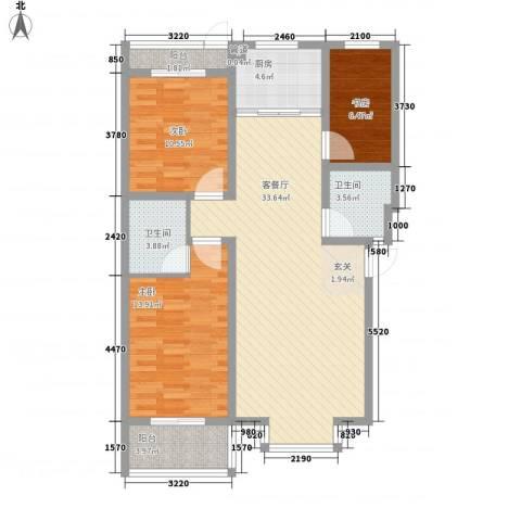 富泽园3室1厅2卫1厨82.43㎡户型图