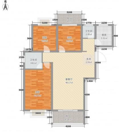 众亿名门3室1厅2卫1厨112.00㎡户型图