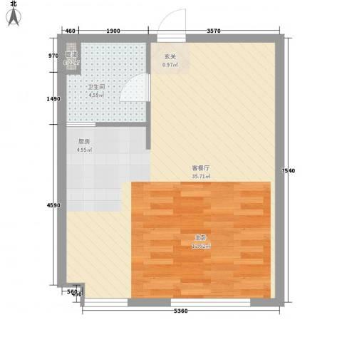 东湖丽景1厅1卫0厨58.00㎡户型图