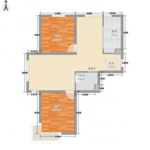 东湖丽景2室1厅1卫1厨67.62㎡户型图