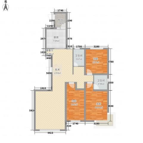 东湖丽景3室1厅2卫1厨144.00㎡户型图