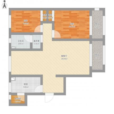 天津碧桂园于姐119两室两厅一厨一卫两阳台2室1厅1卫1厨96.00㎡户型图