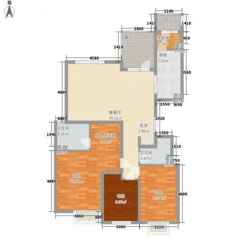 太原富力现代广场3室1厅2卫1厨160.00㎡户型图