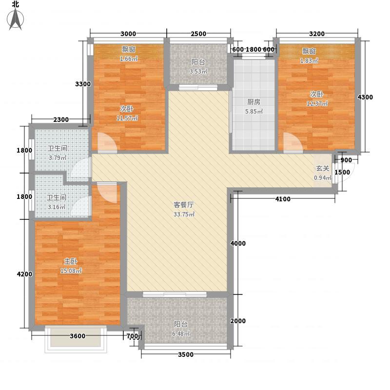 水岸阳光322125.56㎡A户型3室2厅2卫1厨