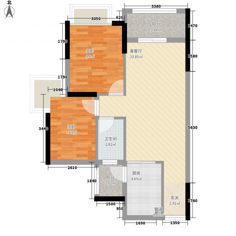 威尼斯广场78.20㎡14号楼户型2室2厅1卫1厨