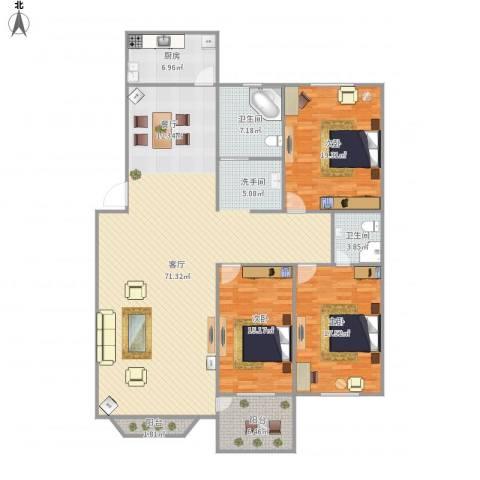 九江帝景3室1厅1卫1厨198.00㎡户型图