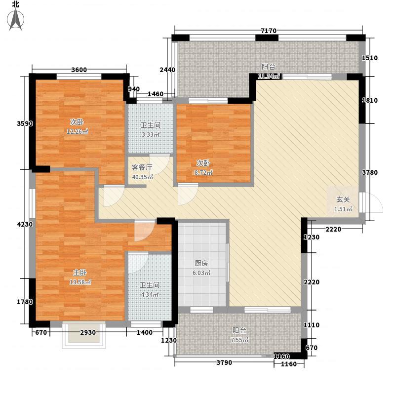 玉锦花苑136.31㎡A户型3室2厅2卫1厨