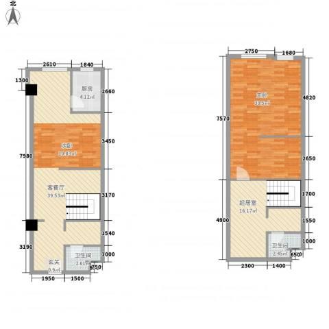 领汇乐城1室1厅2卫1厨95.38㎡户型图