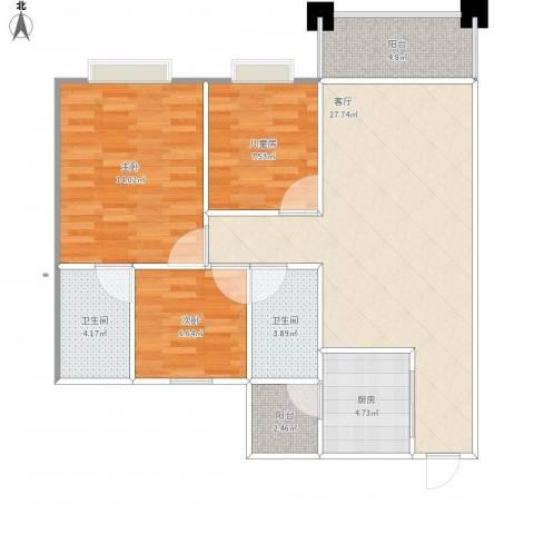 富泽豪庭3室1厅2卫1厨90.00㎡户型图