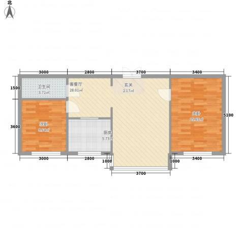祥瑞家园2室1厅1卫1厨83.00㎡户型图