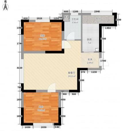 远创金泽锦城2室1厅1卫1厨80.00㎡户型图