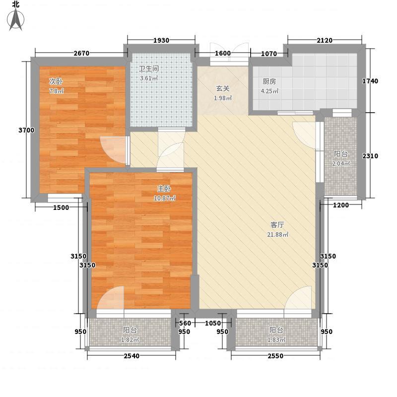 泰达慧谷悦城7.00㎡16#楼C-1户型2室2厅1卫
