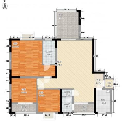 金元国际新城3室2厅2卫1厨102.48㎡户型图