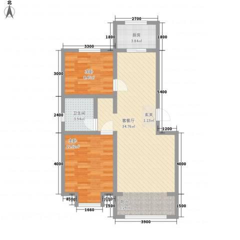 东方嘉苑2室1厅1卫1厨84.00㎡户型图