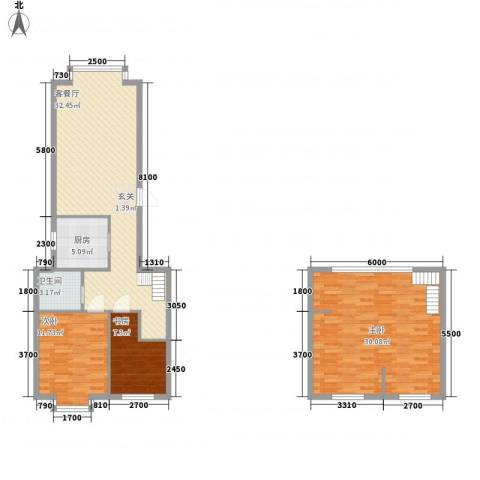 东方嘉苑3室1厅1卫1厨124.00㎡户型图