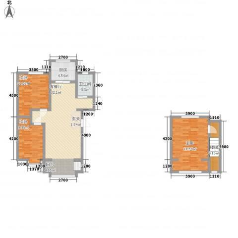 东方嘉苑3室1厅1卫1厨112.00㎡户型图