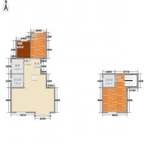 东方嘉苑3室1厅2卫1厨127.00㎡户型图