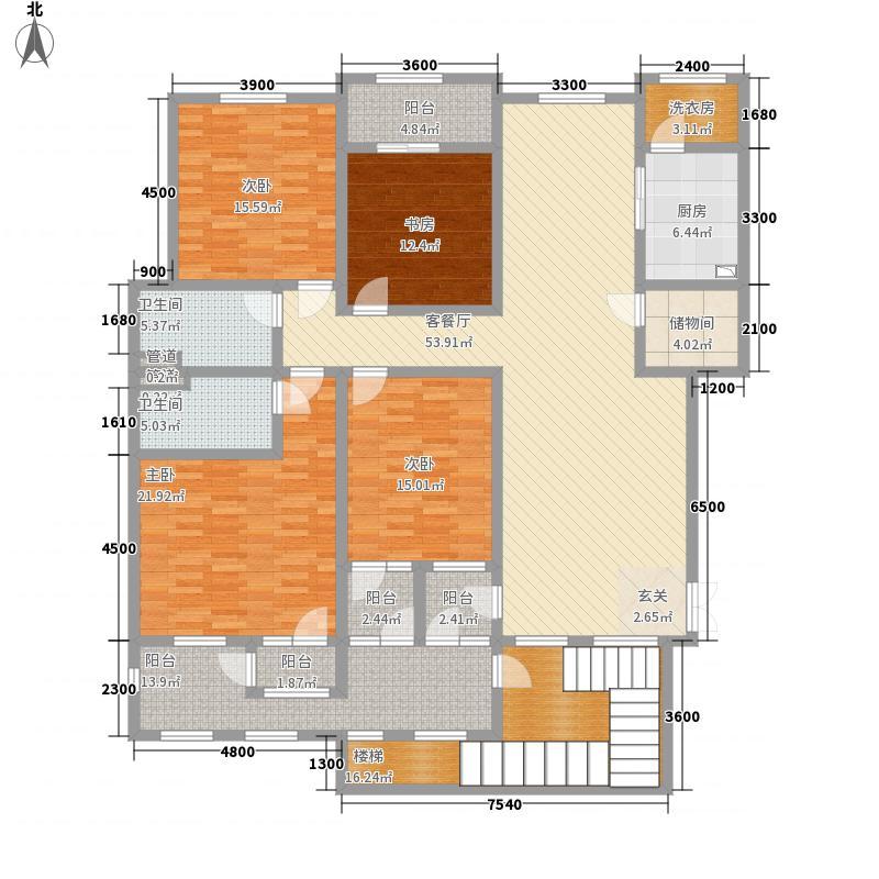 滨江壹号223.20㎡洋房2层效果图户型4室2厅2卫