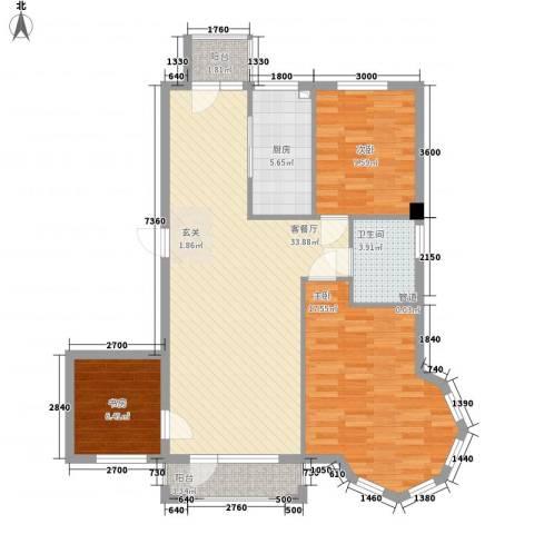金澜名邸3室1厅1卫1厨82.17㎡户型图