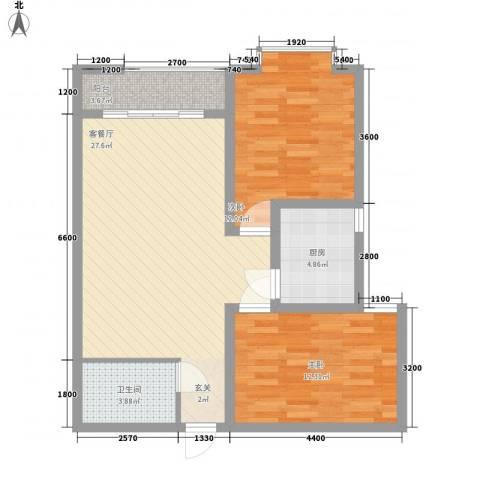 阳光曼哈顿2室1厅1卫1厨73.67㎡户型图