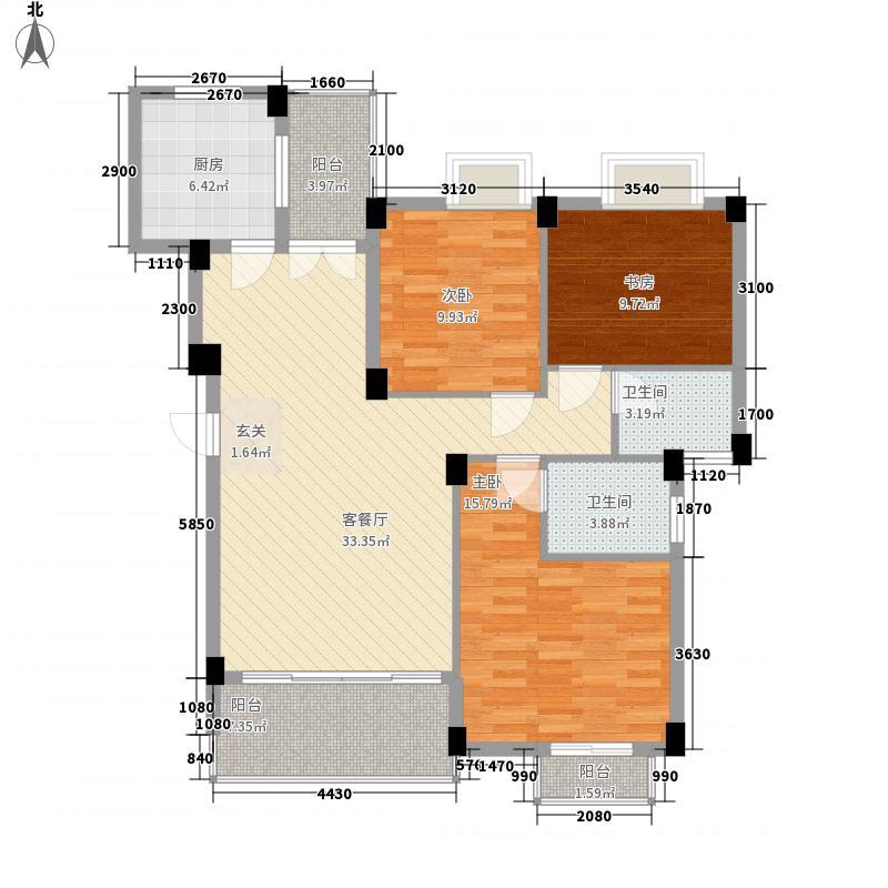 千禧・秀荷花城123.50㎡d栋标准层02户型3室2厅