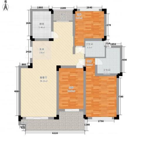 瑞格上海时代广场3室1厅2卫1厨111.00㎡户型图