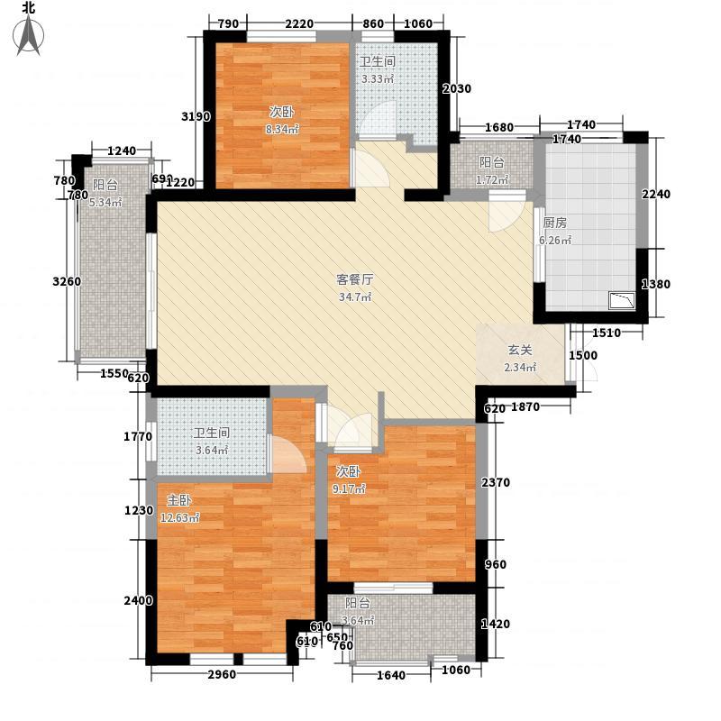 淮矿东方蓝海127.00㎡E-01户型3室2厅2卫1厨