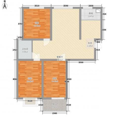 万宏俪城3室1厅1卫1厨116.00㎡户型图