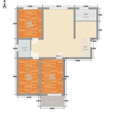 万宏俪城3室1厅1卫1厨115.00㎡户型图