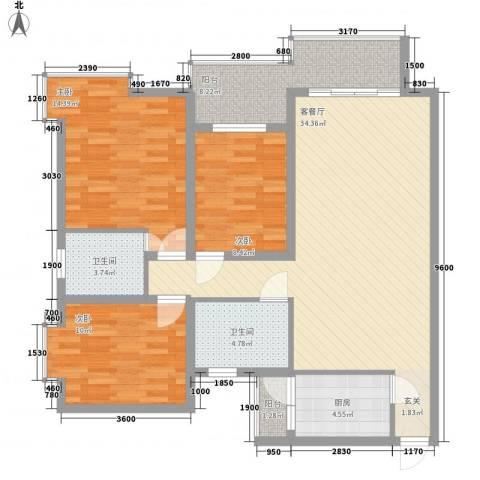 阳光曼哈顿3室1厅2卫1厨102.38㎡户型图