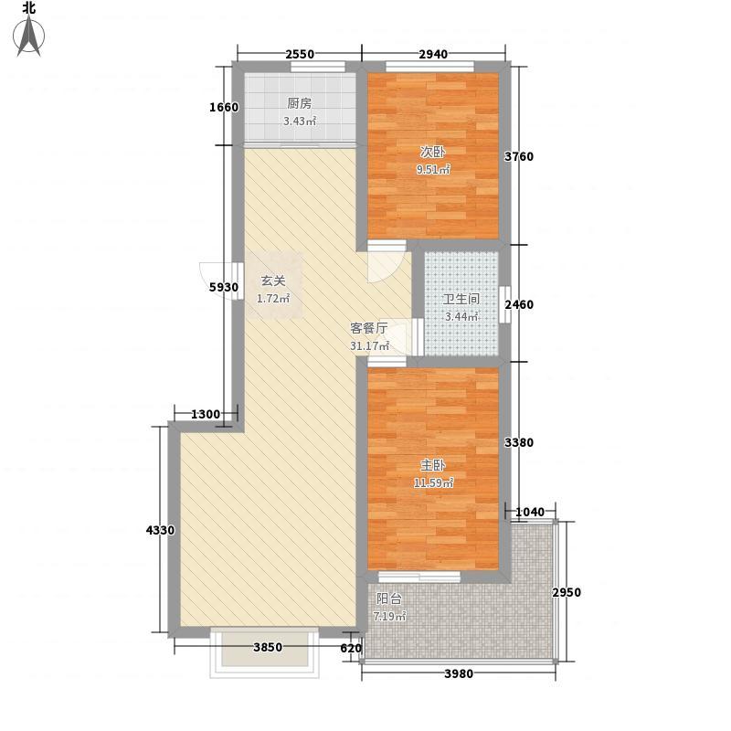 万宏俪城4.50㎡L户型2室2厅1卫