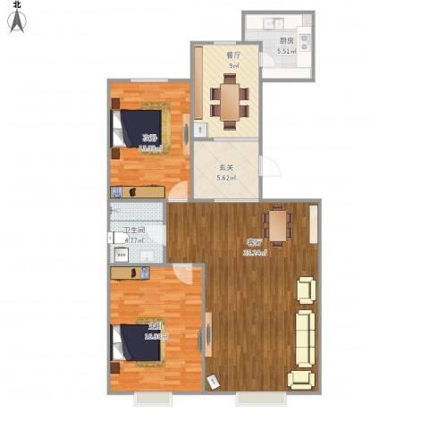 凯立天香水畔2室2厅1卫1厨121.00㎡户型图