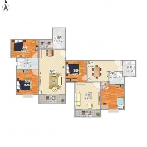 西湖新城4室3厅2卫2厨195.00㎡户型图