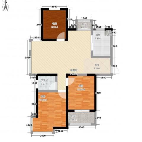 世纪华城3室1厅1卫1厨122.00㎡户型图