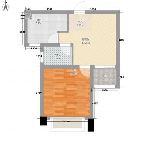 世纪华城1室1厅1卫1厨52.00㎡户型图