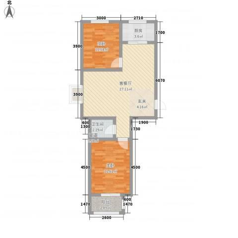 署西嘉园2室1厅1卫1厨85.00㎡户型图