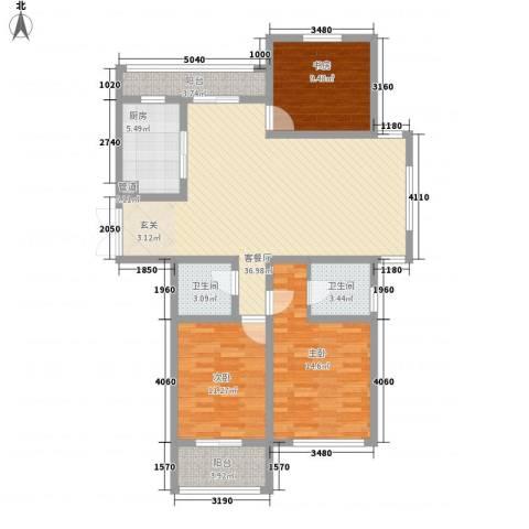 世纪华城3室1厅2卫1厨134.00㎡户型图
