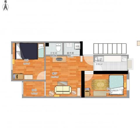 游泳场北路9号院2室2厅1卫1厨58.00㎡户型图