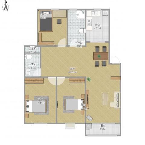 新城花园2室1厅3卫1厨124.00㎡户型图
