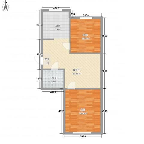 天成雅典2室1厅1卫0厨81.00㎡户型图