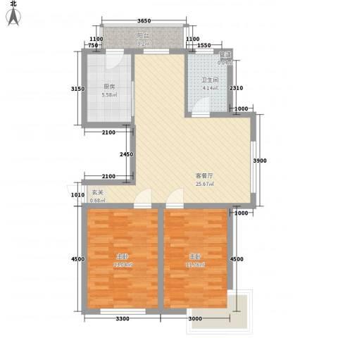 天成雅典2室1厅1卫1厨91.00㎡户型图
