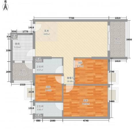 平冈新城3室1厅2卫1厨122.00㎡户型图