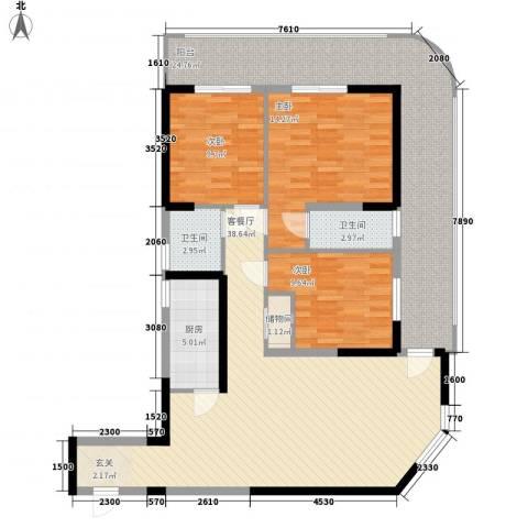 湖畔新城3室1厅2卫1厨13127.00㎡户型图
