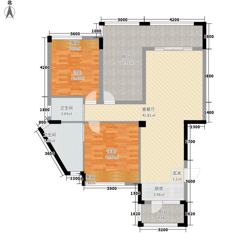 阳光西西里12.15㎡D1两变三户型2室2厅2卫1厨