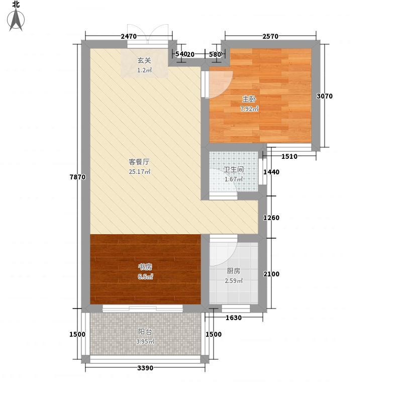 京泰・盘龙湾6.48㎡户型1室2厅1卫1厨