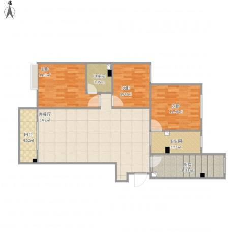 万象春天7号楼二单元12013室1厅2卫1厨119.00㎡户型图