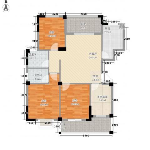 越通美院3室1厅2卫1厨122.00㎡户型图