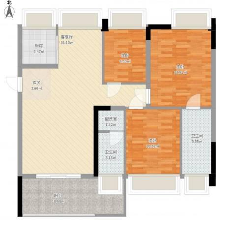 红棉雅苑3室2厅2卫1厨122.00㎡户型图