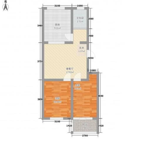 东方家园2室1厅1卫1厨78.00㎡户型图