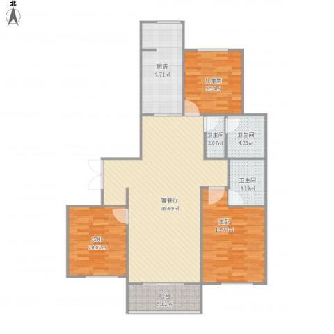 华邦国际3室1厅3卫1厨128.00㎡户型图
